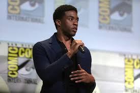 Chadwick Boseman speaking at the 2016 San Diego Comic Con.