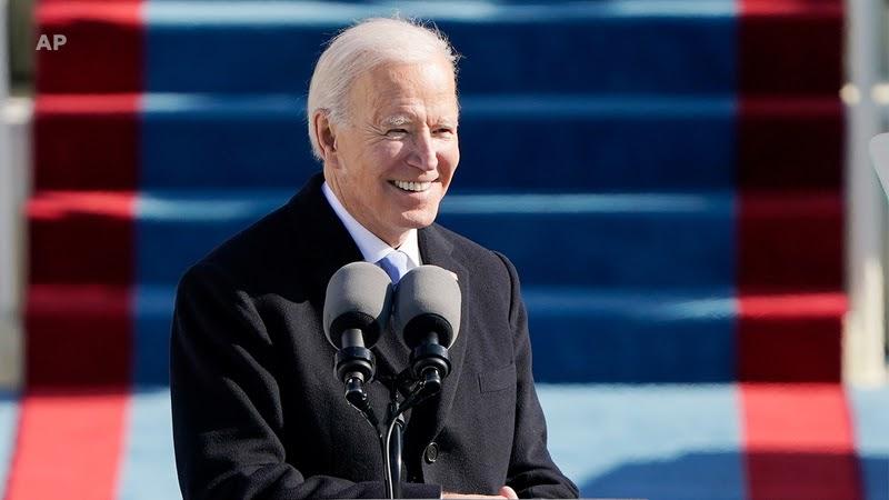 Biden delivering his inauguration speech